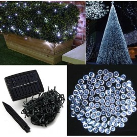 100 LED White Light Indoor Outdoor Wedding Christmas Party Solar Powered String Light
