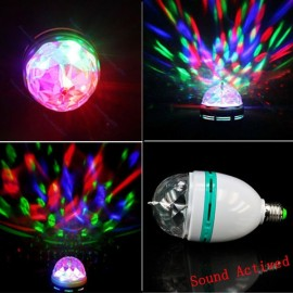 E27 3W RGB Auto Rotating Sound Activated LED Stage Light