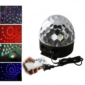 18W 6LEDs Color Crystal Ball Shaped Rotating Stage Light with USB Flash Drive & Remote Controller Black (US/EU Standard Plug)
