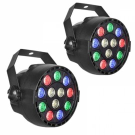2pcs 12W 12 LED RGB Party Stage Light Disco Club Projector Light UK Plug