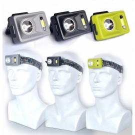 LED+COB Dual light Hand Wave IR Sensor Control Headlamp Dry Battery Random Color