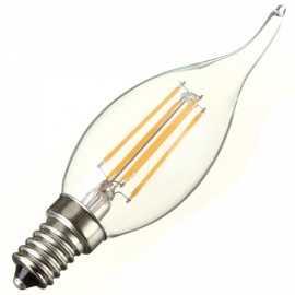 E14 4W 360LM 6000K White Light COB LED Filament Candle Bulb (AC110V)