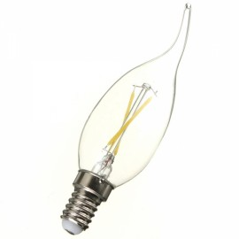 E14 2W 160LM 6500K White Light LED Filament Candle Bulb (AC85-265V)