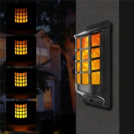 Solar Power Waterproof 66 LED Light Controlled Flickering Flame Wall Light