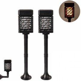 2pcs Rectangle Shaped Solar LED Flickering Flame Torch Light Outdoor Waterproof Landscape Decor for Garden Lawn