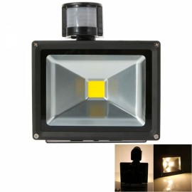 20W IP65 Waterproof PIR 3000-3500K Warm White LED Flood Light Outdoor Landscape Garden Lamp Black (AC 90-260V)