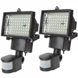 2pcs 60 LED Motion Sensor Solar Power PIR Body Flood Light Outdoor Garden