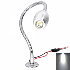 Y035 1W 95LM 6000-6500K White LED Mirror Front Light Display Lamp with a Flexible Neck Silver (AC 89-265V)
