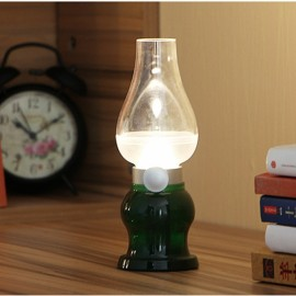 Led Lamp USB Rechargeable Blowing Control Kerosence Candle Night Light Desk Table Lamp Green