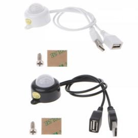 USB Human Body Infrared PIR Motion Sensor Switch for LED Strip Light - Black
