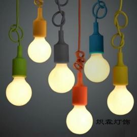 Colorful E27 Silicone Rubber Pendant Light Lamp Holder Socket for Bar Room Restaurant Purple