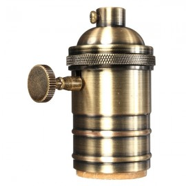 E27 Vintage Edison Pendant Lamp Holder Light Socket w/ Knob - Bronze