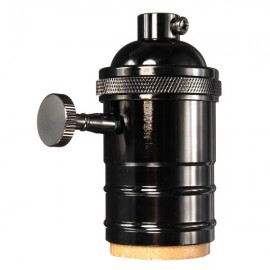 E27 Vintage Edison Pendant Lamp Holder Light Socket w/ Knob - Black