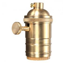 E27 Vintage Edison Pendant Lamp Holder Light Socket w/ Knob - Golden