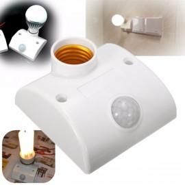 E27 LED Motion Sensor Light PIR Infrared Switch Holder Control - White