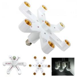 7 in 1 E27 Bulb Adapter Splitter Pendant Lamp Holder White