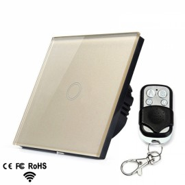 Crystal Glass Touch Panel Switch EU Standard Golden