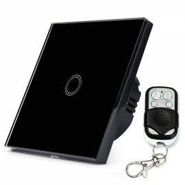 Crystal Glass Touch Panel Switch EU Standard Black