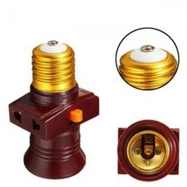E27 Screw Base Light Holder Convert To Switch Lamp Bulb Socket Adapter 110-250V - Brown