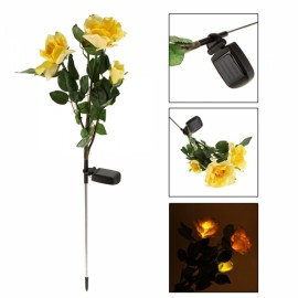 Waterproof Solar Power 3-Flower Rose Shaped LED Light Green & Yellow