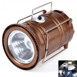 4W 350LM 6x3528SMD LED White Light Solar LED Camping Lamp Lantern Collapsible Rechargeable Light Brown