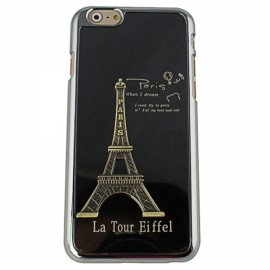 """Eiffel Tower Pattern Plastic + Aluminum Alloy Protective Case for 4.7"""" iPhone 6/6S Black"""