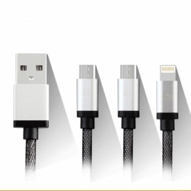 1.2M Earldom ET-877 USB Data Charge Cable w/ 8pin & Dual Micro USB Silver