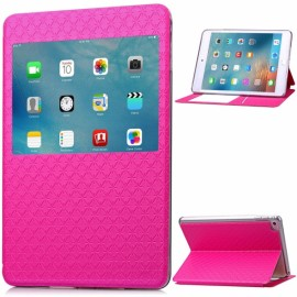 Rhombus Pattern PU Leather Protective Case with Viewing Window for iPad Mini 4 Rose Red