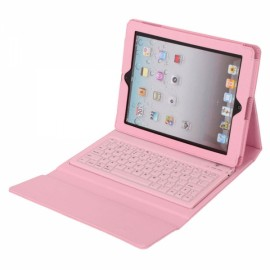 PU Leather Case with Bluetooth Keyboard for iPad 2 / The New iPad 3/ iPad 4 Pink