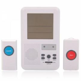 Intelligent Wireless Remote Control Doorbell with Panic Alarm LCD Calendar White 9200W