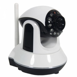 "720P 1/4"" CMOS 3.6mm 11LED Infrared PT P2P IP Network Camera with Night Vision White"