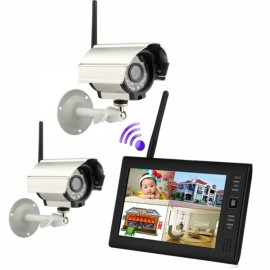 """7"""" Wireless 2.4G 4CH DVR Security System with 1 Monitor 2 Cameras"""