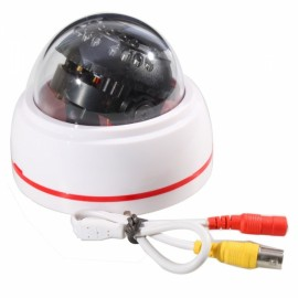 "1/4"" Sharp CCD 420TVL 24IR LED Plastic Conch Type Security Camera White Red"