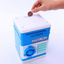 Mini ATM Electronic Password Piggy Bank Childrens Safe Box Blue