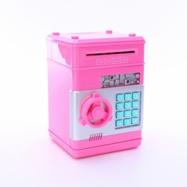 Mini ATM Electronic Password Piggy Bank Childrens Safe Box Pink