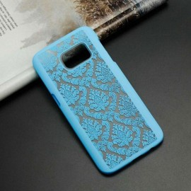 Retro Engraved Pattern Matte PC Back Case Cover for Samsung Galaxy S6 Edge Plus Blue