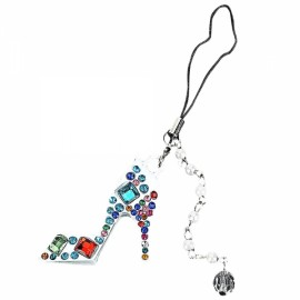 Colored Rhinestone High Heeled Shoe Style Cellphone Handbag Pendant Embellishment Multi-Colored