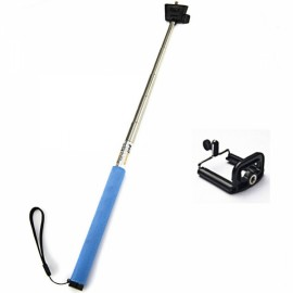 Universal Handheld 6-section Retractable Aluminum Alloy Monopod Mount for iPhone / HTC / Samsung Blue & Silver