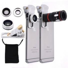 4-in-1 Zoom Wide-angle Fisheye Lens Clamp Camera Lens Telescope Macro Telephoto Silver