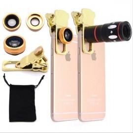4-in-1 Clamp Fisheye Wide-angle Macro Camera Telescope Telephoto Lens Golden