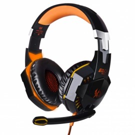EACH G2000 Over-ear Headphone with Mic Stereo Bass LED Light for PC Game Black & Orange