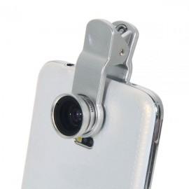 LQ-001 All-purpose 3 in 1 Wide Angle + Microspur + Fisheye Lens Silver