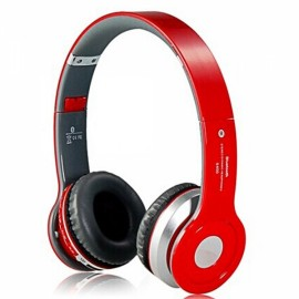 Foldable On-ear Wireless Stereo Bluetooth Headphones Headset with MP3/FM/TF Card Reader Red