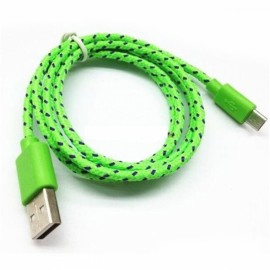 1M Micro USB Data Fast Charger Cable Android V8 Nylon Braided Green