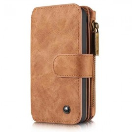 Wallet Flip PU Leather Phone Case Cover for Samsung Galaxy S7 Brown