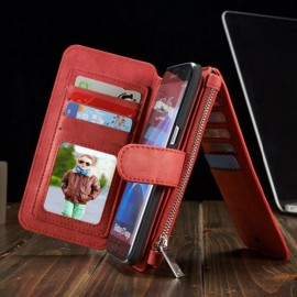 Magnetic PU Leather Flip Wallet Case Back Cover for Samsung Galaxy S7 Edge Red