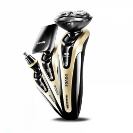 POVOS PW926 3-in-1 3D Floating Replaceable Head Fully Washable USB Charging Electric Shaver Razor + Hair Temple Cutter + Nose Hair Trimmer (100-240V) Golden