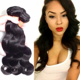 16 Inch Brazilian Virgin Hair Body Wave Hair Wig Natural Black