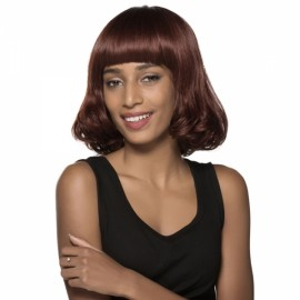 "13"" Virgin Remy Human Hair Full Net Cap Woman Short Curly Hair Wig with Bang Flax"