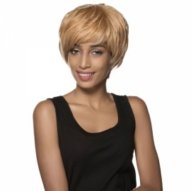 "5"" Virgin Remy Human Hair Full Net Cap Woman Short Straight Hair Wig with Bang Light Golden"